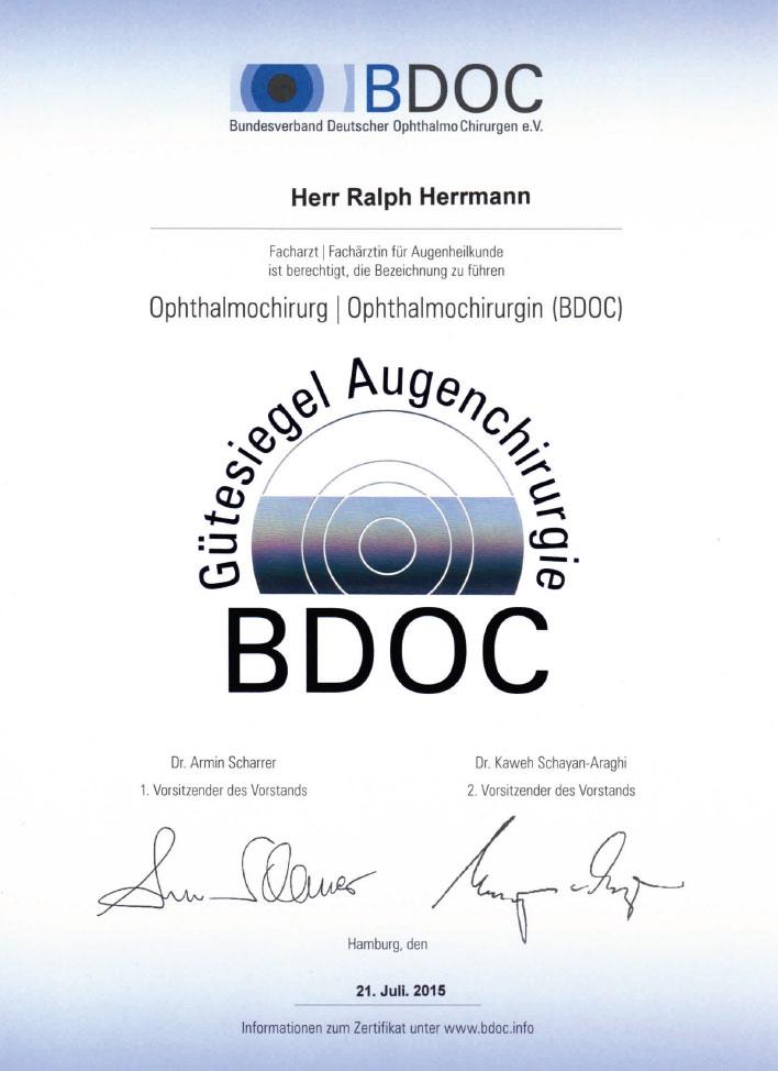 BDOC Gütesiegel Augenchirurgie - Ralph Herrmann